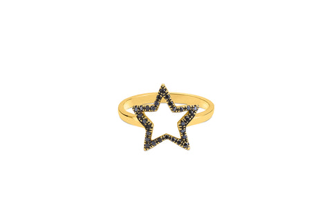 Star Outline Studded in Black Diamond Ring