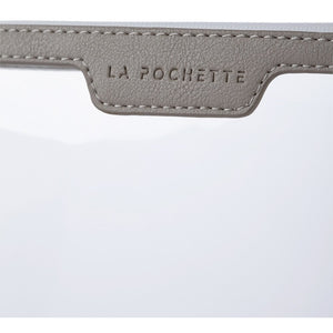 Grey La Pochette large see-through pouch, abrasion resistant made sustainably with biodegradable material and Vegan stamped leather.