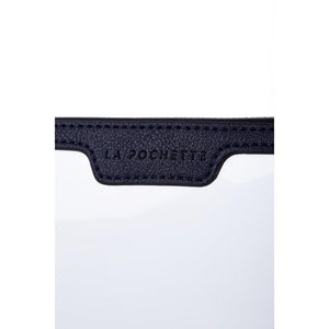 Blue La Pochette small, TSA approved, see-through pouch, abrasion resistant made sustainably with biodegradable material and Vegan stamped leather.
