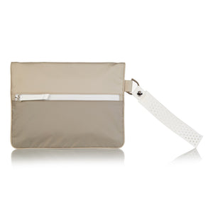 Beige La Pochette waterproof small No Excuses kit bag for sport or fitness studio wear. Lightweight stylish design made sustainably from recycled material with antibacterial and deodorising properties.