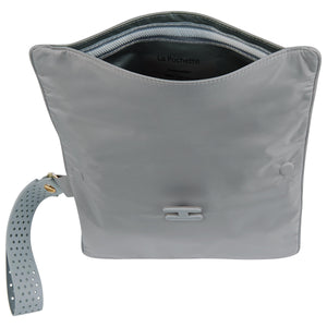 Grey La Pochette waterproof large No Excuses kit bag for sport or fitness studio wear. Lightweight stylish design made sustainably from recycled material with antibacterial and deodorising.