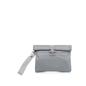 Grey La Pochette waterproof small No Excuses kit bag for sport or fitness studio wear. Lightweight stylish design made sustainably from recycled material with antibacterial and deodorising properties.