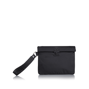 Black La Pochette waterproof small No Excuses kit bag for sport or fitness studio wear. Lightweight stylish design made sustainably from recycled material with antibacterial and deodorising.