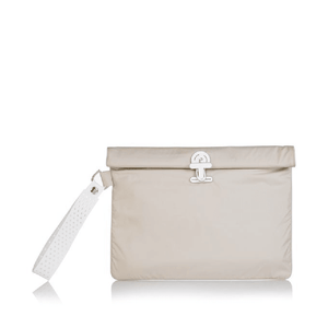 Beige La Pochette waterproof large No Excuses kit bag for sport or fitness studio wear. Lightweight stylish design made sustainably from recycled material with antibacterial and deodorising properties.