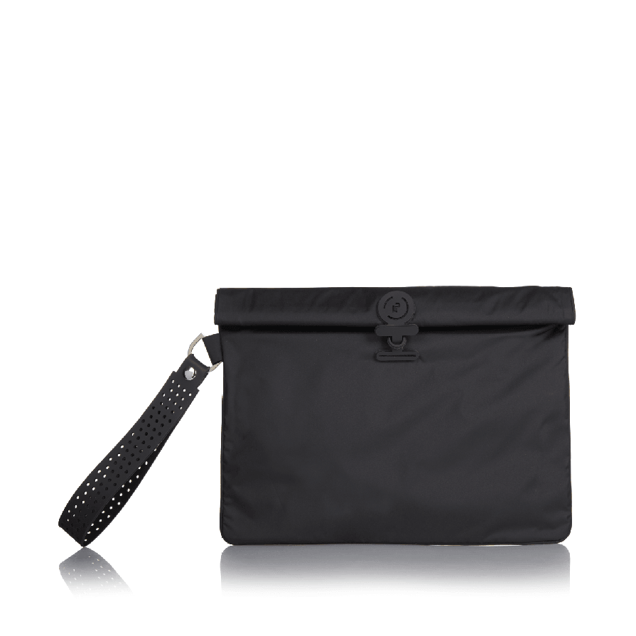 Black La Pochette waterproof kit bag for sport or fitness studio wear. Lightweight stylish design made sustainably from recycled material with antibacterial and deodorising.