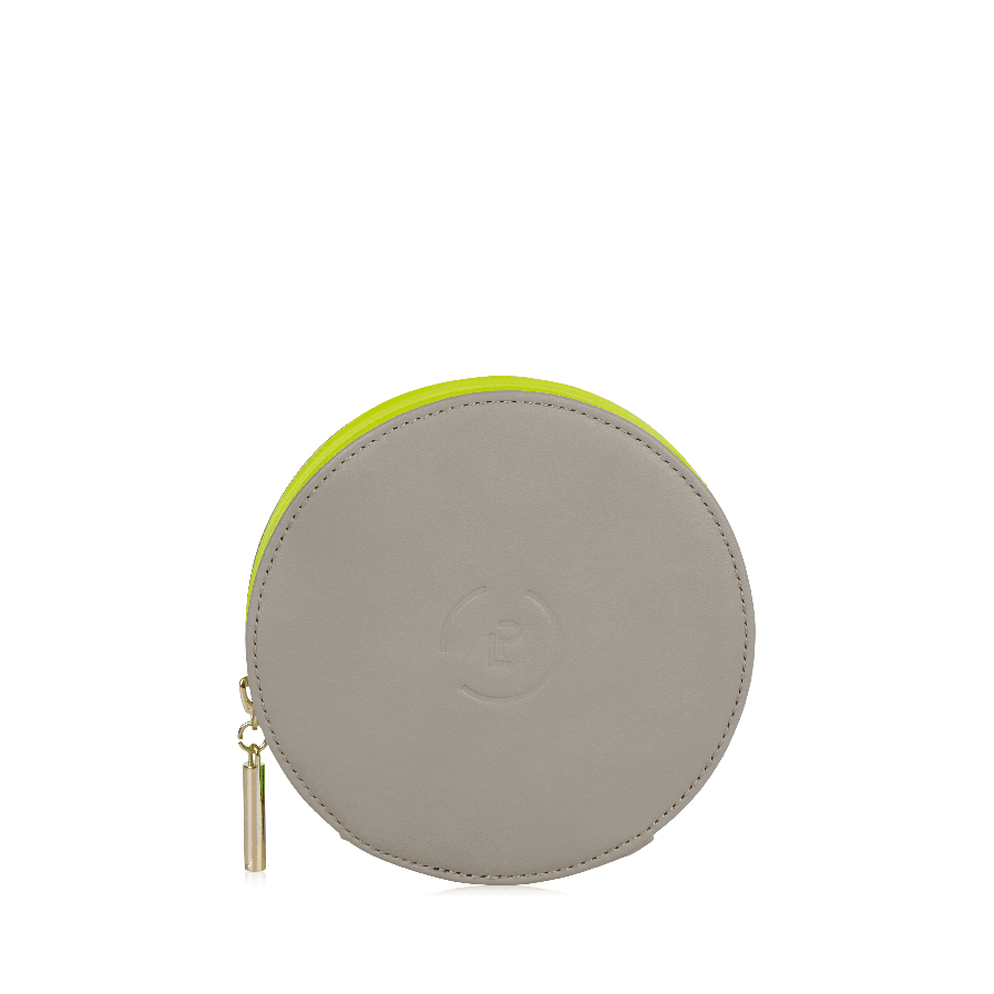 Circle Purse - Walnut Neon Green