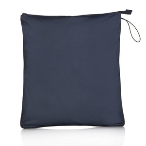 Blue La Pochette water resistant large Sweat kit bag for sport or fitness studio wear. Lightweight stylish design made sustainably from recycled material with antibacterial and deodorising properties.