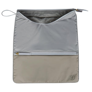 Grey La Pochette water resistant large Sweat kit bag for sport or fitness studio wear. Lightweight stylish design made sustainably from recycled material with antibacterial and deodorising properties.