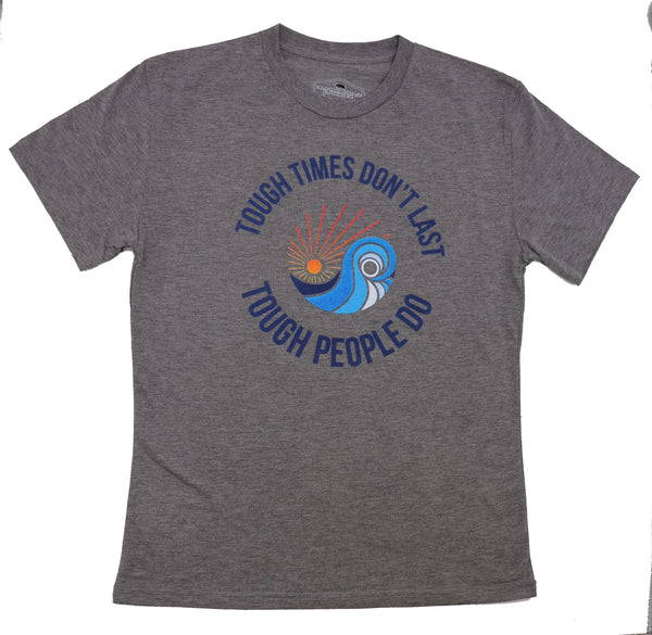 Heather gray shortsleeve t-shirt with Tough times don't last tough people do and sdtc's logo centered above the verbiage