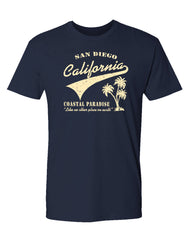 Adult short sleeve shirt with San Diego California Coastal Paradise Like no Other Place on Earth print and palm trees.