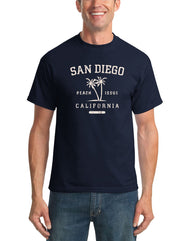 Adult Short sleeve shirt with San Diego headlining a distressed palm tree design and Beach Issue and California below