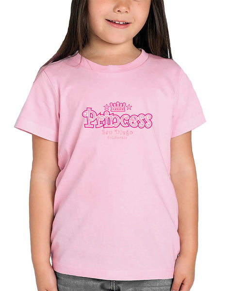 Girls princess tiara soft pink graphic t-shirt. Fun, Beautiful, and Girly Tee. Great for tea parties, back to school, summer, and everyday wear for youth. Design, Printed, and Sold by San Diego Trading Co.