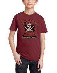 Boys youth crew neck T-Shirt color graphite cardinal burgundy. Graphic Design by local San Diego, California Artist. Graphic tee features a skateboard with the Californian republic bear. Text Real Urban Masters... Skateboarding is living, San Diego California. A great summer design for children. Sizes Small through X-large. Sold by San Diego Trading Co.