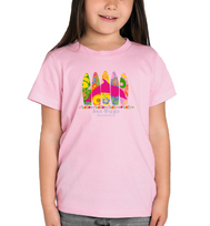 Toddler girls surfboard and dolphin soft pink color graphic t-shirt. Fun, Beautiful, and Trendy design for the beach and everyday wear, by local San Diego, California Artist. Design, Printed, and Sold by San Diego Trading Co.