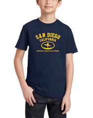 Boys or girls youth crew neck T-Shirt color navy. Graphic Design by local San Diego, California Artist. Graphic tee features yellow silhouette of a Surfer with their surf board, text San Diego California Supplier of Quality Surf Apparel.  A great summer design for children. Sizes Small through X-large. Sold by San Diego Trading Co.