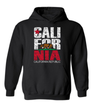 Youth solid black hoodie sweatshirt with kangaroo pocket and distressed California Republic flag print and bear red and white