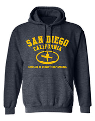 Men or Women Adult comfortable hooded sweater in heather denim with adjustable draw strings and kangaroo pockets. Design is by local artist in San Diego, California. Printed Surfer San Diego, Supplier of Quality Surf Apparel  Graphic Hoodie. Sold by SD Trading Co