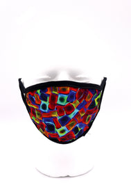 Face Mask wide coverage abstract figures of cubes in blue green red colors face mask adults for women or men. Helps with protection, mask, covid, covid-19 protection, corona virus protection, corona virus, self protection, reusable face mask, re-usable mask, cool max, made in the USA