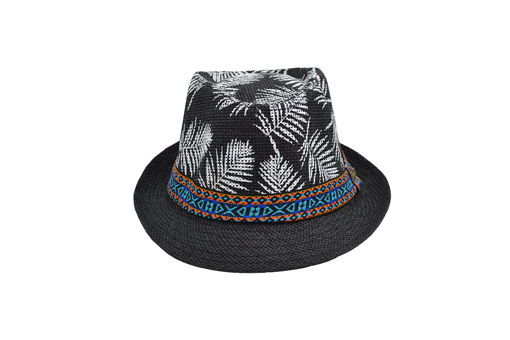 Fedora hat unisex, Women hat or Men hat. Summer hat for everyday day wear. Black color, top is printed with white palm tree leaves and has a colorful blue orange tribal accessory strap with Lucky 7 tag. Sold by SDTrading Co. Men's summer hat for vacation or beach.