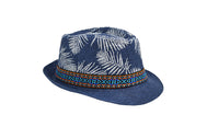 Fedora hat unisex, Women hat or Men hat. Summer hat for everyday day wear. Navy color, top is printed with white palm tree leaves and has a colorful blue orange tribal accessory strap with Lucky 7 tag. Sold by SDTrading Co. Men's summer hat for vacation or beach.