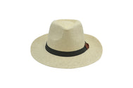 Panama Fedora beach hat unisex, Women hat or Men hat. Summer hat for everyday day wear. Natural color with brown strap. Panama Hat is lovely and one size fits most. Sold by SDTrading Co. Front of Hat.