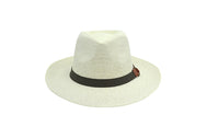 Panama Fedora beach hat unisex, Women hat or Men hat. Summer hat for everyday day wear. White color with brown strap. Panama Hat is lovely and one size fits most. Sold by SDTrading Co. Front of Hat.