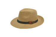 Panama Fedora beach hat unisex, Women hat or Men hat. Summer hat for everyday day wear. Sand color with brown strap and belt accessory. Panama Hat is lovely and one size fits most. Sold by SDTrading Co. Front of Hat.