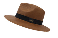 Side view panama fedora men's hat. Fedora hat unisex, Women hat or Men hat. Summer hat for everyday day wear. Brown color with accessory strap. Sold by SDTrading Co. Rugged summer hat for vacation or beach.