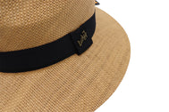 Side view panama fedora men's hat. Fedora hat unisex, Women hat or Men hat. Summer hat for everyday day wear. Khaki color with accessory strap. Sold by SDTrading Co. Rugged summer hat for vacation or beach head wear.