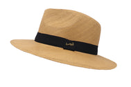 Front of hat Fedora hat unisex, Women hat or Men hat. Summer hat for everyday day wear. Khaki color with accessory strap. Sold by SDTrading Co. Rugged summer hat for vacation or beach.