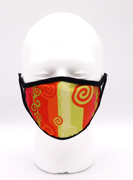 Face Mask Reusable Batik Citrus orange and red color stripes with swirls.  Face mask protection, mask, covid, covid-19 protection, corona virus protection, corona virus, self protection, reusable face mask, re-usable mask, coolmax, made in the usa. Wide coverage face mask for men and women