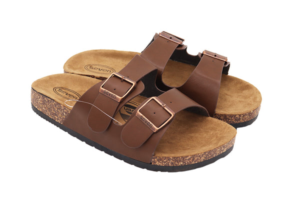 Women Sandals double buckle thick cork sandals in color dark brown featuring two straps and buckles with vegan leather and a black rubber sole. Women sandals. Size 5, Size 6, Size 7, Size 8, Size 9, Size 10 Sandals. Sold by SDTrading Co.