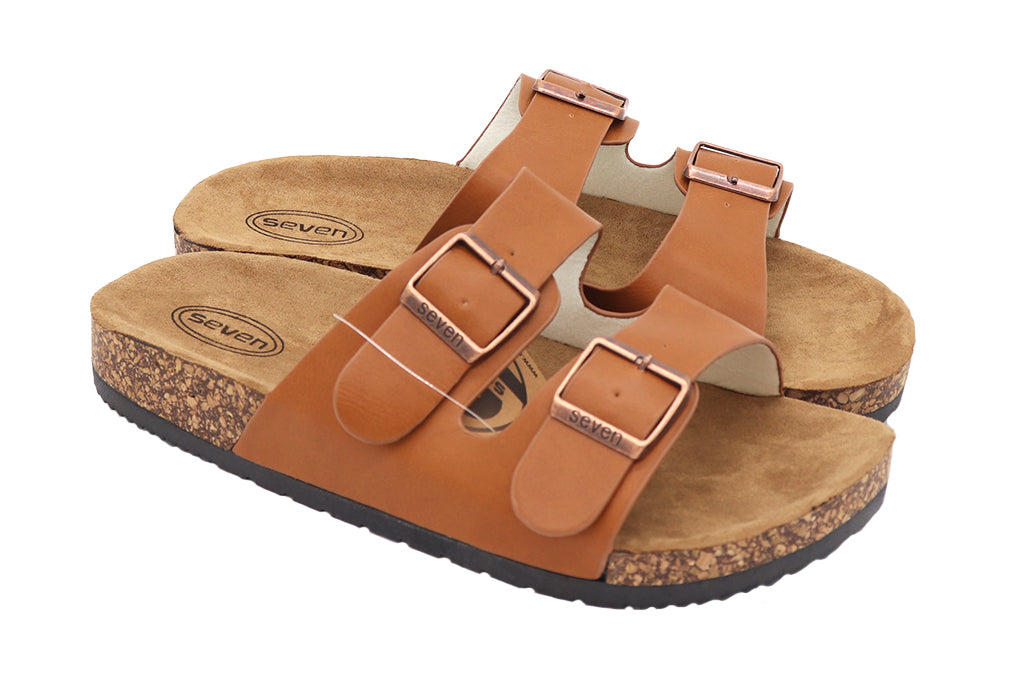 Women Sandals double buckle thick cork sandals in color khaki light brown camel sandals featuring two straps and buckles with vegan leather and a black rubber sole. Women sandals. Size 5, Size 6, Size 7, Size 8, Size 9, Size 10 Sandals. Sold by SDTrading Co.