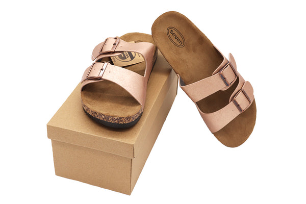 Women Sandals double buckle thick cork sandals in color Champagne sandals featuring two straps and buckles with vegan leather and a black rubber sole. Women sandals. Size 5, Size 6, Size 7, Size 8, Size 9, Size 10 Sandals. Sold by SDTrading Co.