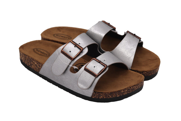 side of Women's birkenstock sandals in Silver color featuring two straps and buckles with vegan leather and a black rubber sole. Women sandals.