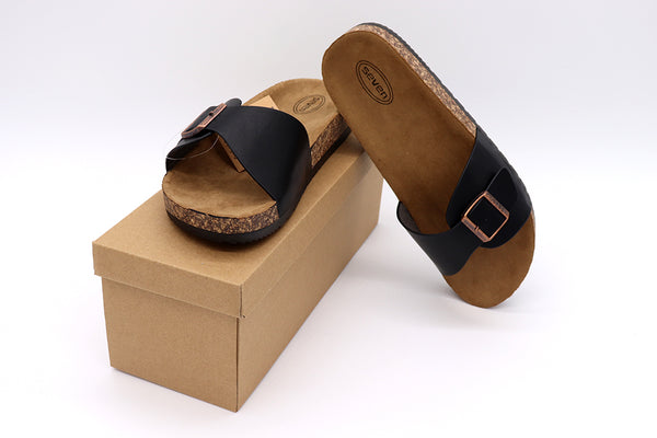 Women black Sandals single buckle thick cork sandals in color balck featuring one straps with one buckle, vegan leather and a black rubber sole. Women sandals. Size 5, Size 6, Size 7, Size 8, Size 9, Size 10 Sandals. Sold by SDTrading Co.
