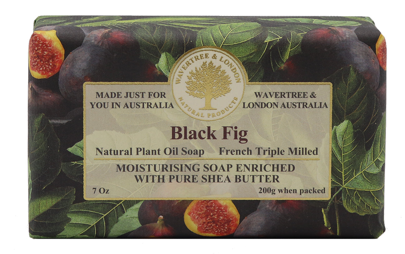 black fig Australian made soaps No SLS, Parabens, detergents or harsh chemicals. Our moistuzing soap is mild vegan natural