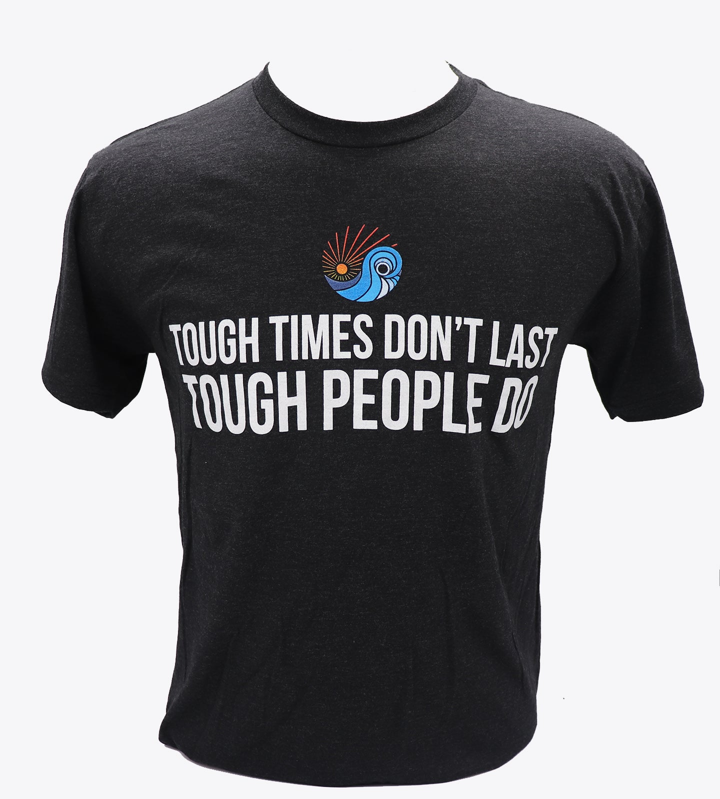 Heather black shortsleeve t-shirt with Tough times don't last tough people do and sdtc's logo centered above the verbiage