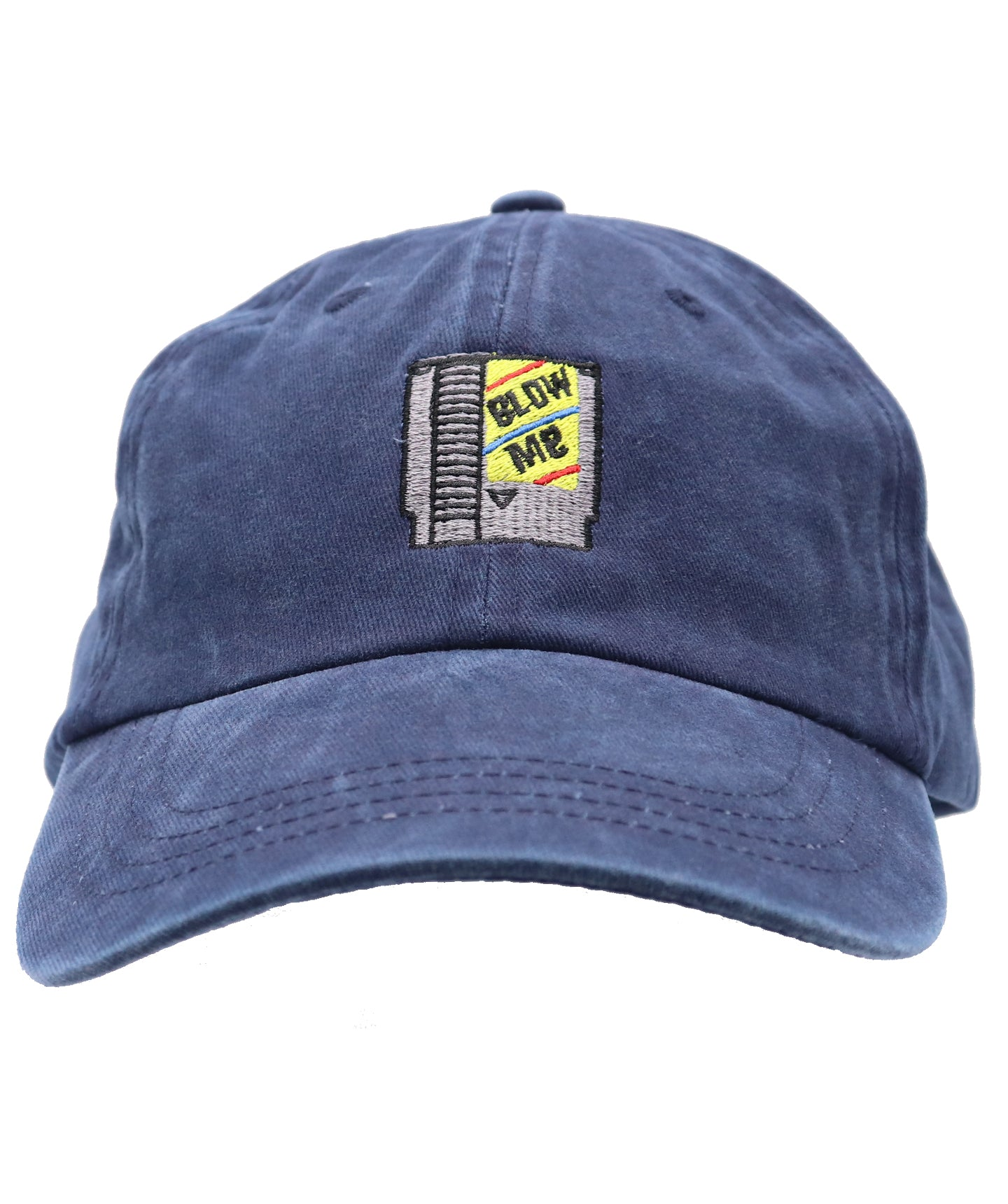 Unisex Blow Me navy blue baseball hat of classic NES Cartridge 8-Bit cartridge embroidery. Old school gamers will enjoy this fun cheeky reference. Funny gifts for family and game players.