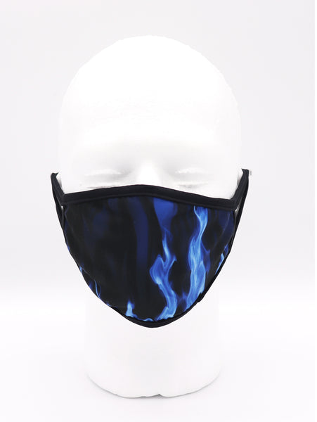 Face Mask wide coverage face mask adults for women or men. Blue flames over a black face mask. Comfortable and Breathable. Helps with protection, mask, covid, covid-19 protection, corona virus protection, corona virus, self protection, reusable face mask, re-usable mask, cool max, made in the USA