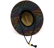 Boy's lifeguard straw hat with natural straw fibers that are 100% water compatible. Front patch with San Diego CA, printed fabric on bottom and lined, and adjustable drawstring with toggle. Featuring neon colorful surfboards and waves on a brown background. Sold by SDTrading Co.