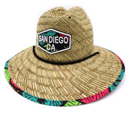 Boy's lifeguard straw hat with natural straw fibers that are 100% water compatible. Front patch with San Diego CA, printed fabric on bottom and lined, and adjustable drawstring with toggle. Featuring palm trees on a geometric colorful neon shapes. Sold by SDTrading Co.