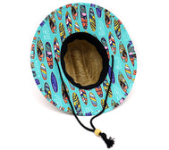 Boy's lifeguard straw hat featuring lined bottom and upper rim. Wide brim with colorful surfboards with tropical flowers, colorful multi colored side stripes, and other fun patterns, on an aqua blue background with white outlined fish. Vacation beach vibes. Adjustable draw cord string. Sold by SDTrading Co