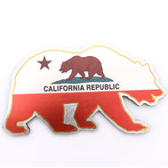 Bear shaped magnet with a sheen to it featuring the California Flag on it. full magnetic coverage on back to support a strong hold