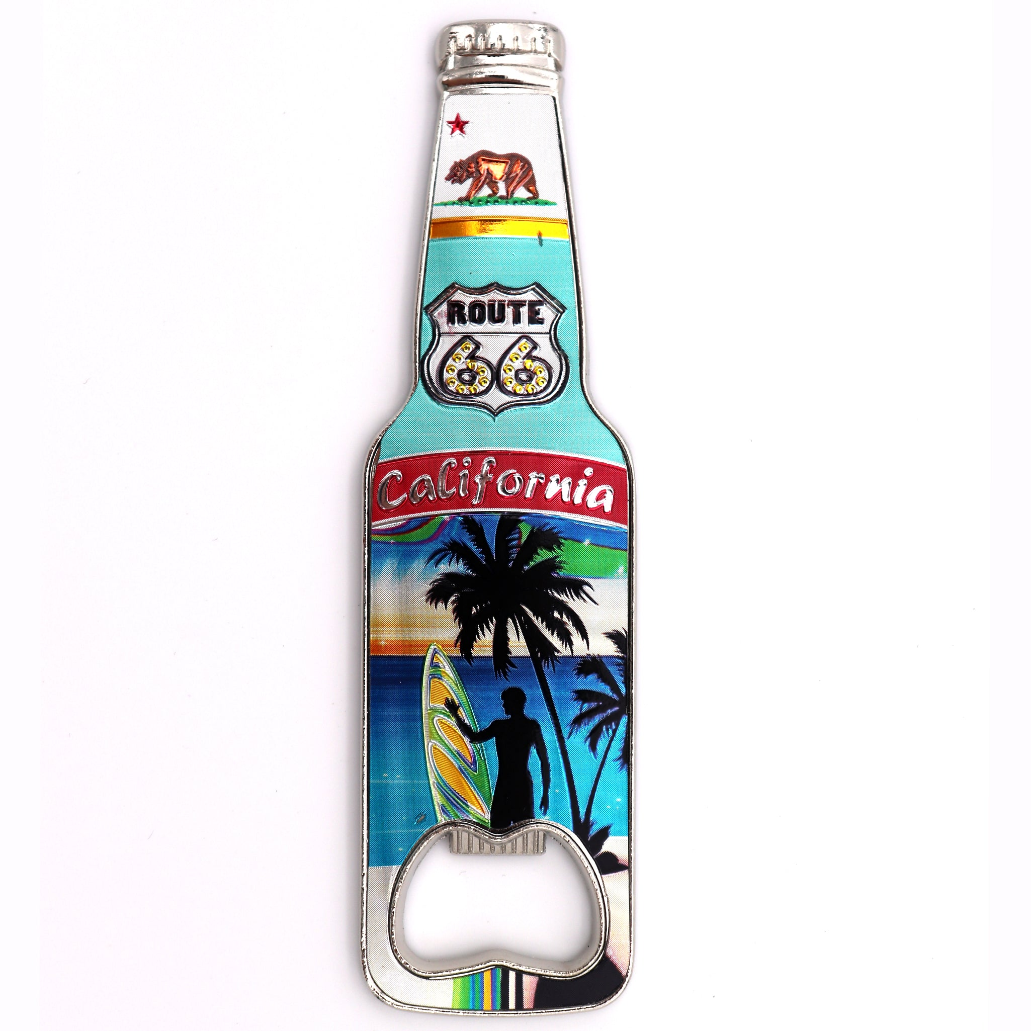 California Bottle opener magnet featuring the ca flag bear and route 66 traffic sign with a view of the beach and a surfers sihlouette