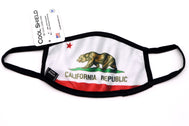 Face Mask wide coverage California Republic Flag face mask adults for women or men. White cloth mask with brown bear on all fours over green grass with red star and red bottom. Helps with protection, washable mask protection, corona virus protection, corona virus, self protection, reusable face mask, re-usable mask, cool max, made in the usa.