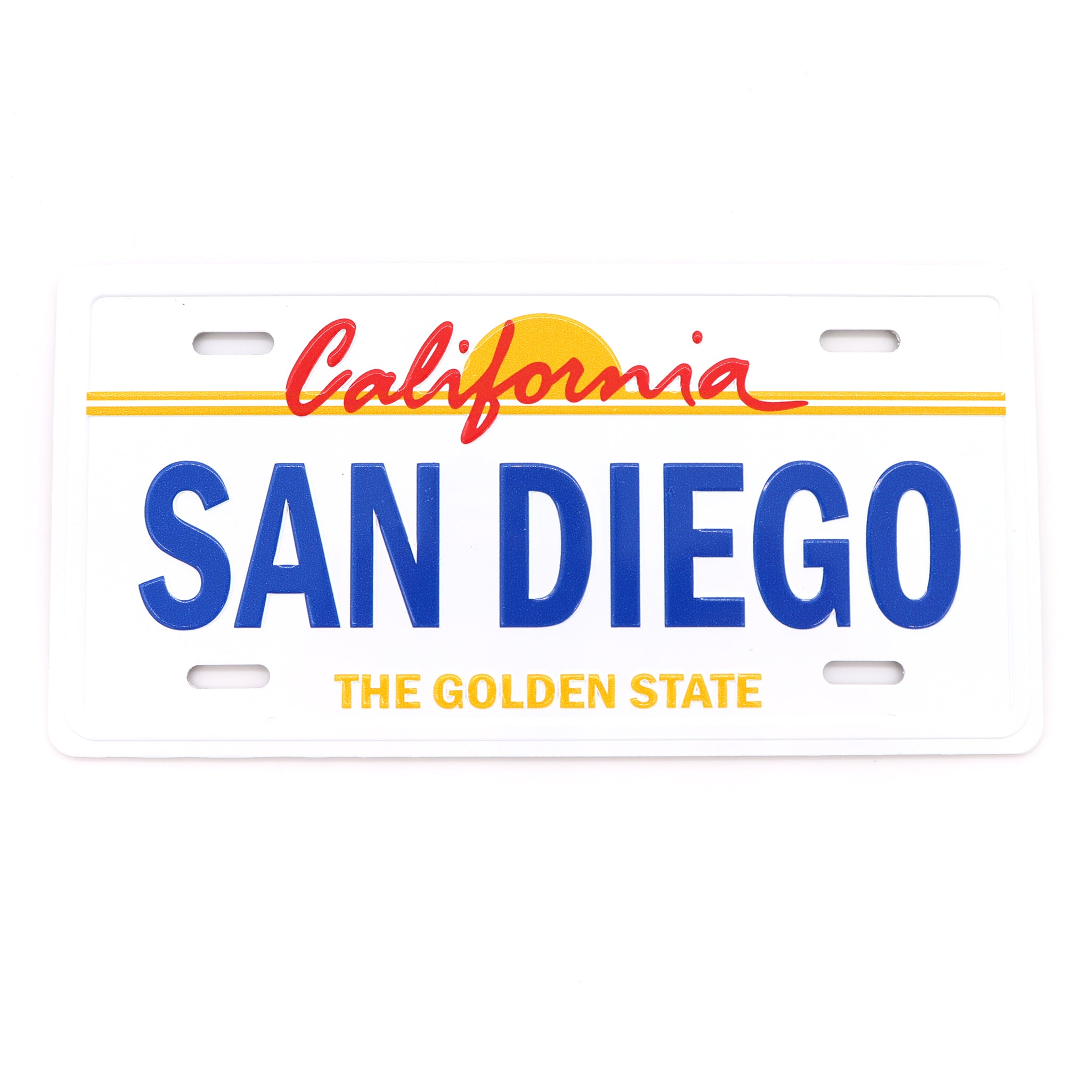 White rectangular magnet imitating the California License Plate with San Diego as the License number and The Golden State in smaller letters below
