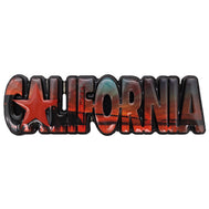 California Magnet with the word California cut out in bubble letters featuring a sunset. Beautiful orange colors and star shape for the letter A.