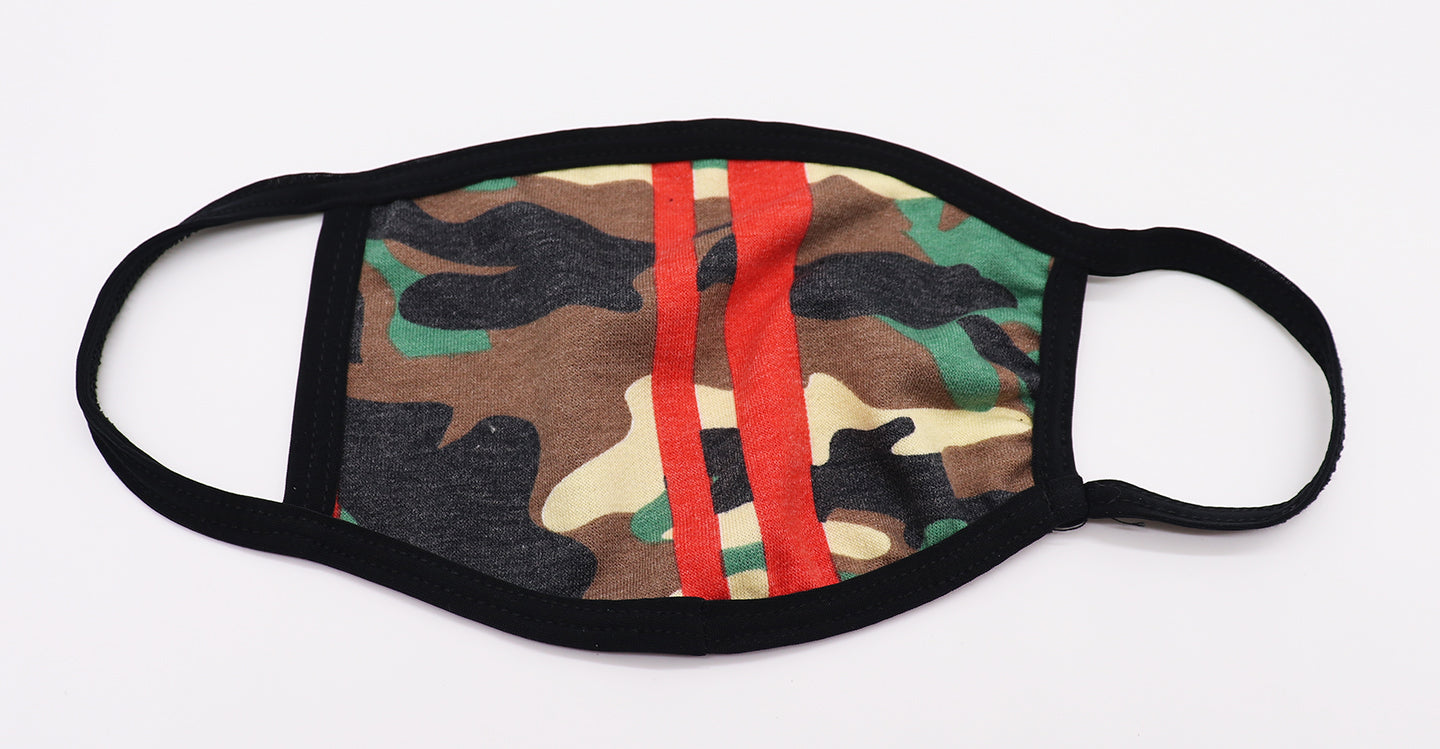Adult Camo face mask. Green camouflage pattern with two red solid lines. Comfortable, fashion, trendy, nice, protection, and compliant with CDC guidance.These masks are washable and reusable. Sold by SDTrading Co.