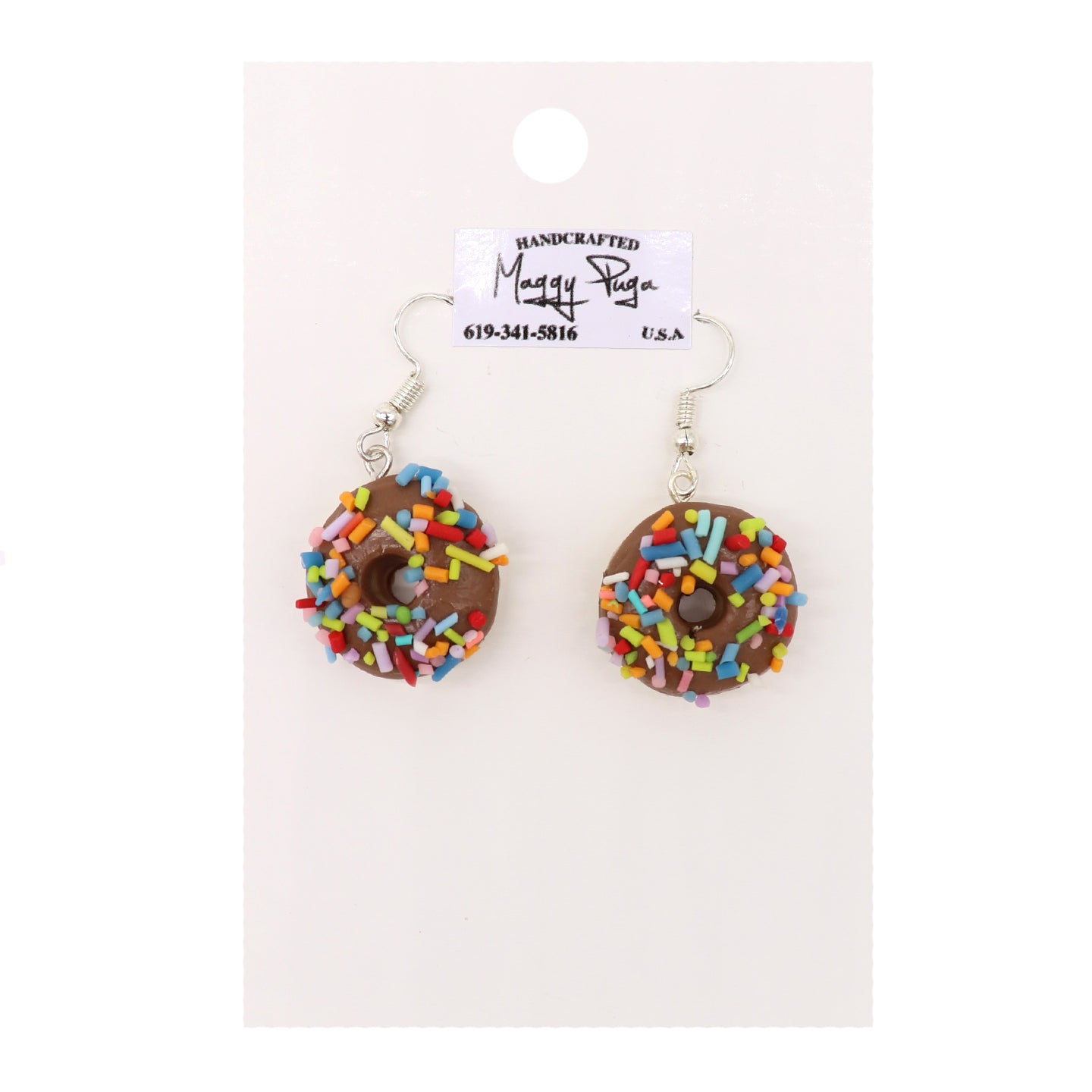 Chocolate Donut Earrings with colorful sprinkles. Handmade by small shop Maggy Puga. Sold by SDTrading Co.